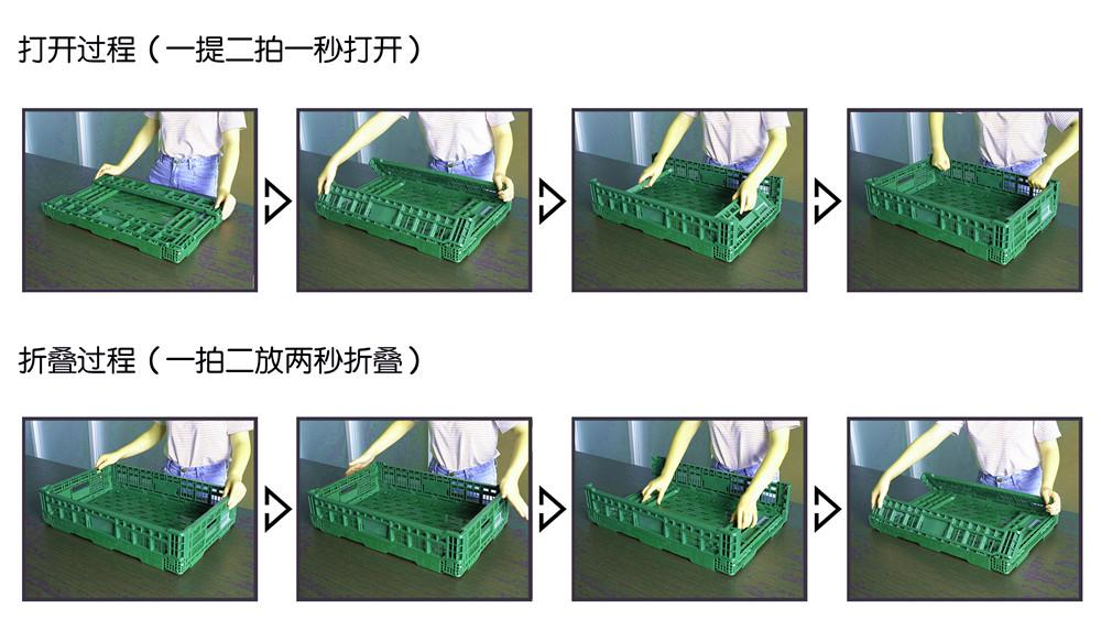 折叠筐打开和折叠过程